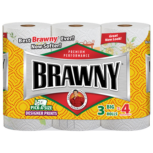 Brawny: Big Roll Pick-A-Size Prints 112 2-Ply Sheets Paper Towels, 3 Ct