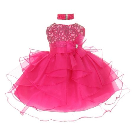 Baby Girls Hot Pink Organza Rhine studs Bow Sash Flower Girl Dress 6M