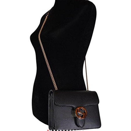 474946b0915 Gucci Bree Guccissima Black Crossbody Leather Bag New