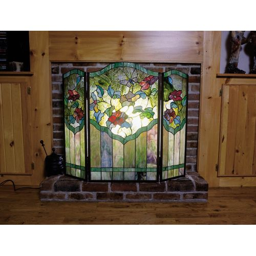 Meyda Tiffany 27237 Stained Glass   Tiffany Fireplace Screen from the Garden Fri by Meyda Tiffany