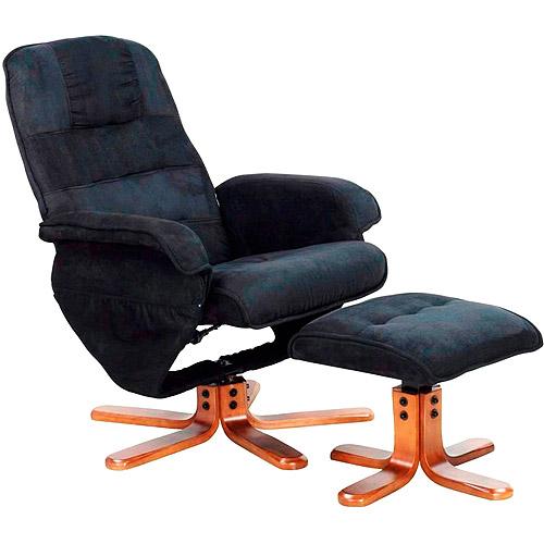 Euro Recliner Lounge Chair and Ottoman Black Walmart