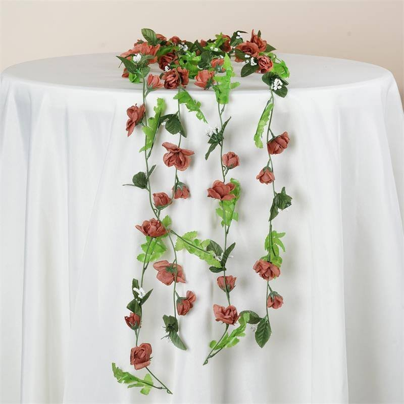 BalsaCircle 48 ft Mini Silk Rose with Greenery Garlands - DIY Home Wedding Party Decorations Arrangements