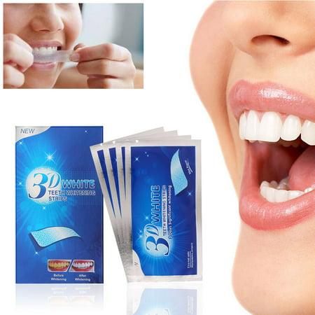 14pcs/box 3D Teeth Whitening Strips Teeth Dental Whitening Cleaning Double Elastic Gel Strips Dental Whitening