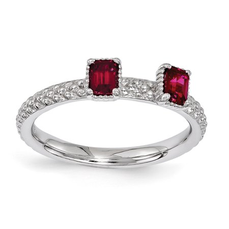 Sterling Silver Stackable Expressions Created Ruby Two Stone Ring Size 6 - image 1 de 3