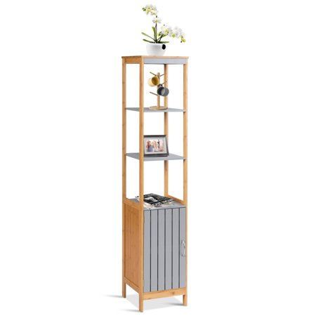 Costway Bathroom Floor Cabinet Bamboo 5 Tier Concise
