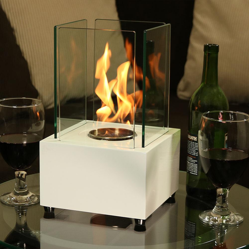Sunnydaze Cubic Tabletop Fireplace, Indoor Ventless Bio Ethanol Firepit, Long Lasting Burn Time, White by Sunnydaze Decor
