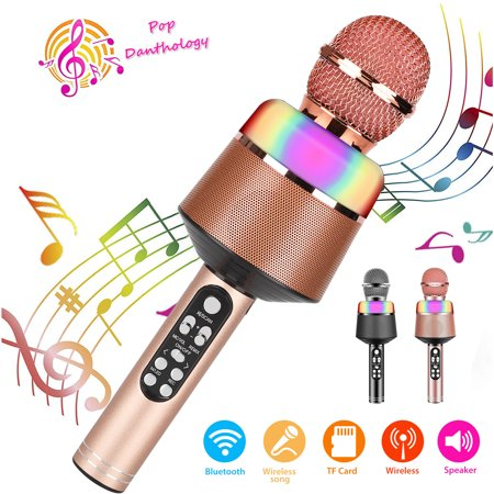 Wireless Karaoke Microphone for Kids, Bluetooth Microphone Handheld Microphone Music Player Speaker and Voice Recorder, Wireless KTV Microphone Mic Fit for Android iOS Smartphone, PC, Laptop Wireless Microphone Laptop