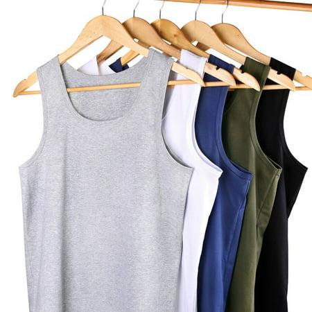 AOELEMENC 089 Men Cotton Vest Breathable Sleeveless O-neck Wide Shoulder Vest - image 6 of 9