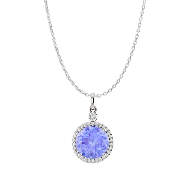Sterling Silver Water Flow Pendant with Tanzanite