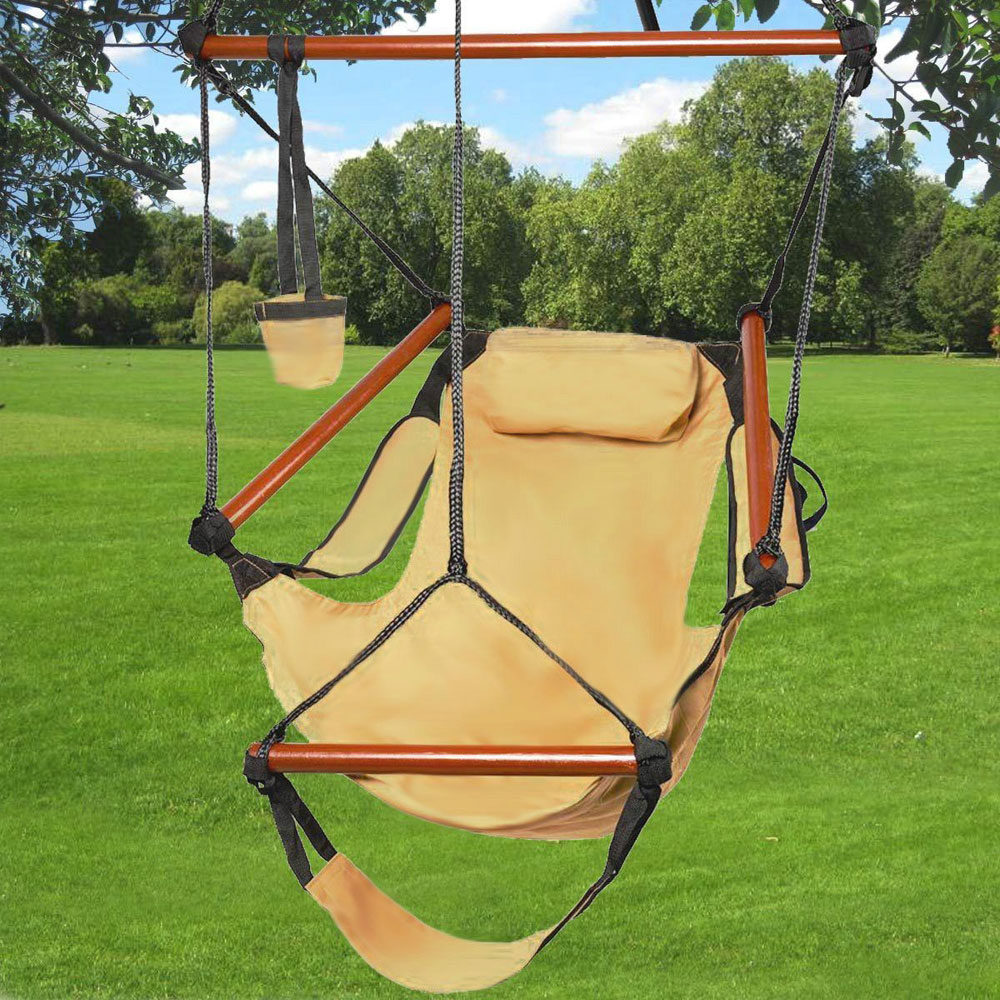 Zimtown Portable Hammock Rope Chair Cacolet Hanging Swing Outdoor Seat Patio Porch Garden Beach Camping Wood w/Carrying Bag