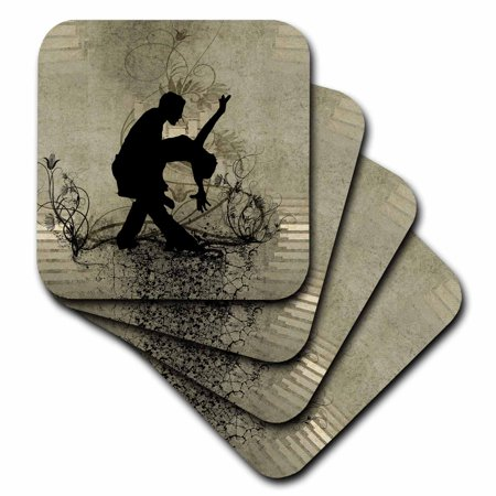 3dRose Dancing couple, silhouette, on vintage background - Ceramic Tile Coasters, set of 4