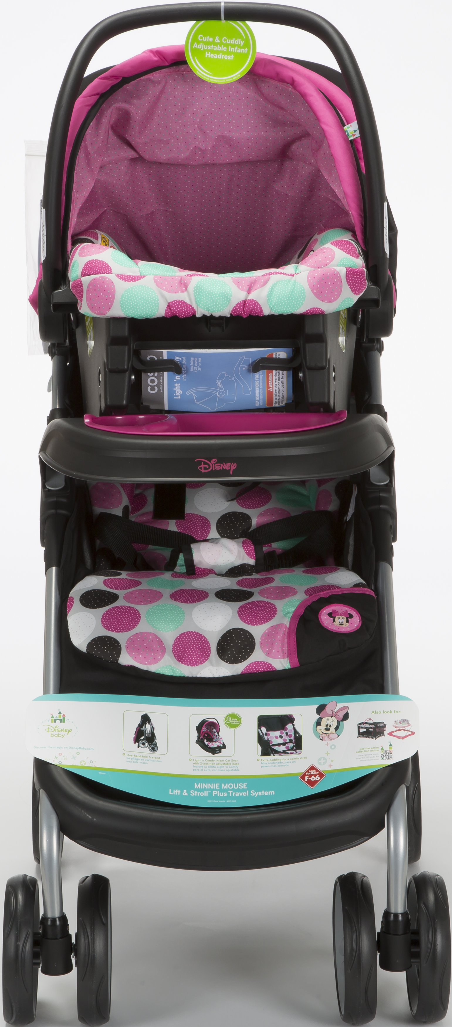 Disney Baby Minnie Mouse Lift StrollTM Plus Travel System Coral Flowers
