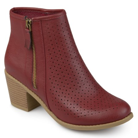 Womens Faux Leather Laser Cut Booties