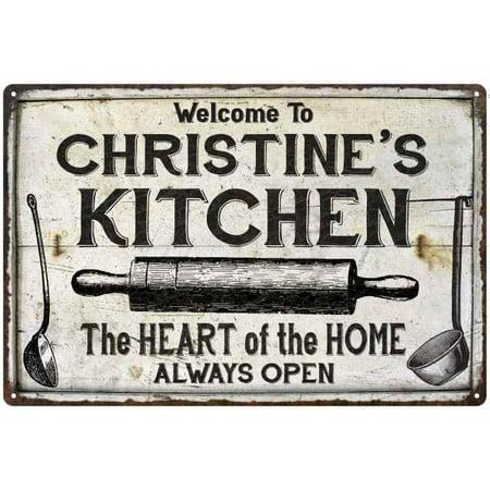 Christine S Kitchen Farmhouse Sign Gift Personalized 8x12 Metal 208120033046