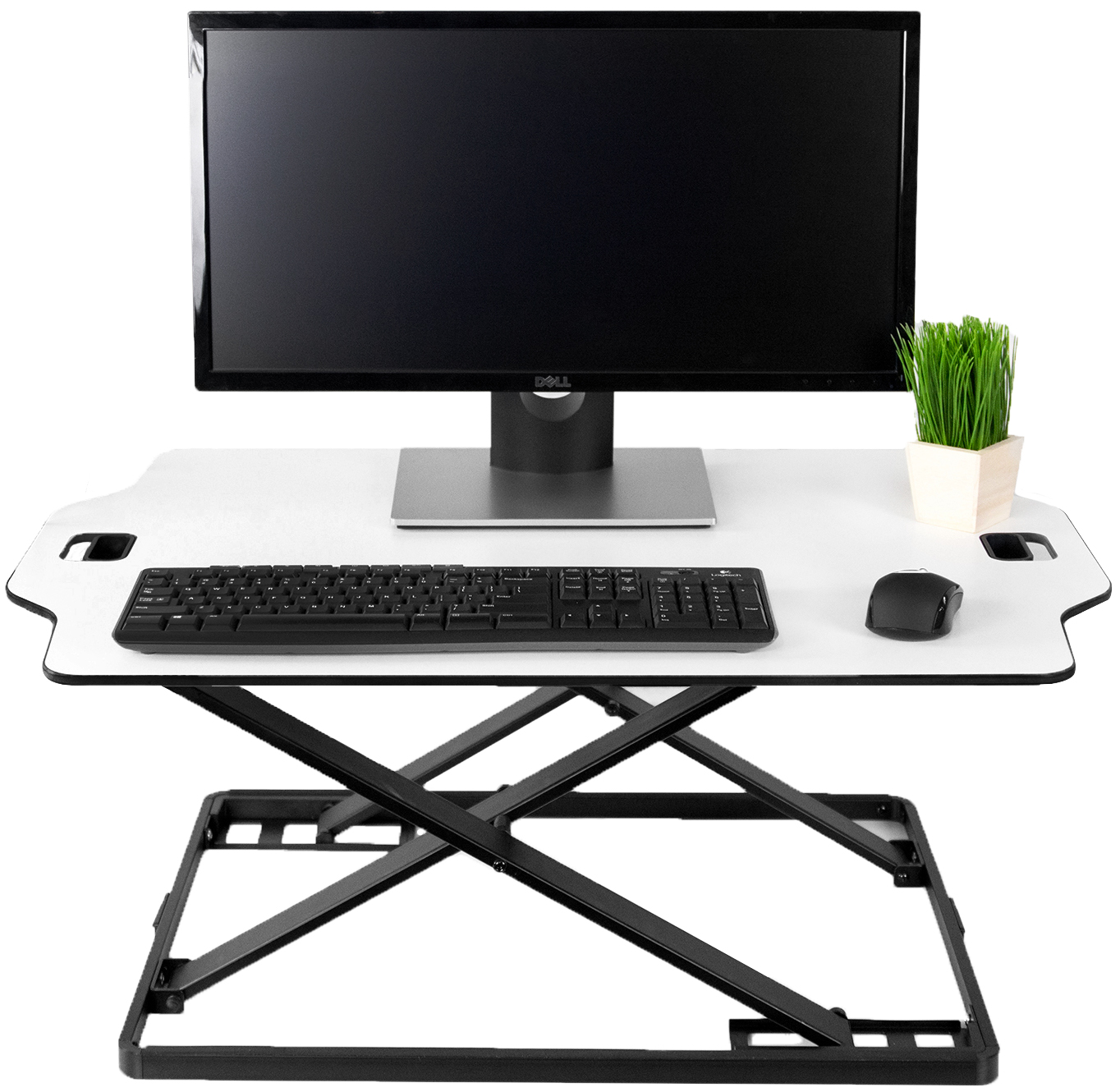 "VIVO White Height Adjustable Standing 32"" Desk Sit Stand Tabletop Monitor Laptop Riser Platform Station (DESK-V000H)"