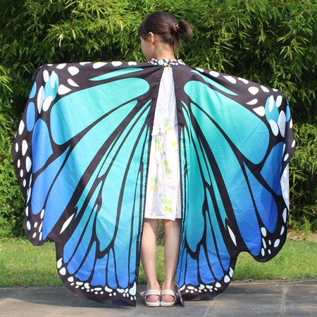 Kid Baby Girl Butterfly Wings Shawl Scarves Nymph Pixie Poncho Costume Accessory - Girl Pixie