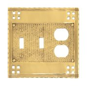 BRASS Accents Arts and Crafts Triple Combo Wall Plate (Set of 2)