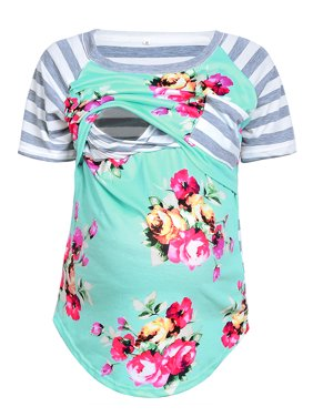 Qtymom Women Maternity Short Sleeve Floral Patchwork Striped Stitching Doubled Layered Nursing Tops