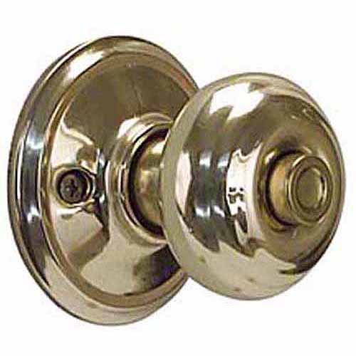 Schlage F40VGEO605 Bright Brass Georgian Knob Privacy Set
