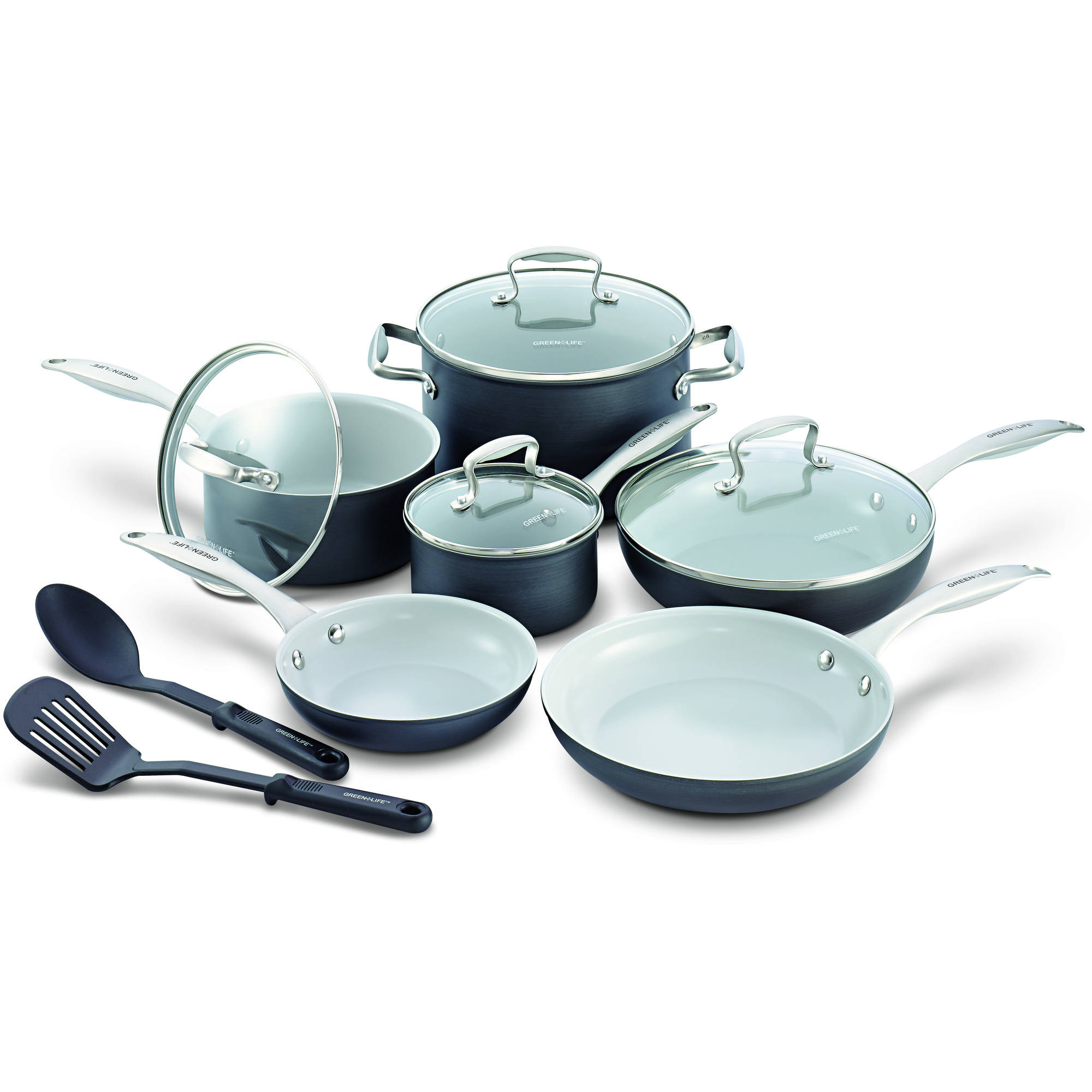 "GreenLife Healthy Ceramic Non-Stick 12"" Classic Hard Anodized 12-Piece Cookware Set"