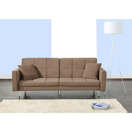 Sleeper Living Room (Modern Plush Tufted Velvet Fabric Splitback Living Room Sleeper Futon (Brown))