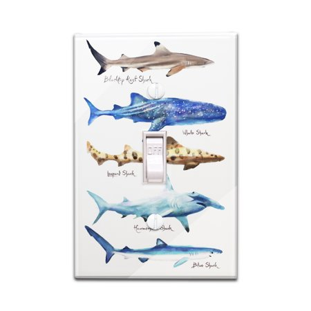 Shark Names - Watercolor - Lantern Press Artwork (Light Switchplate Cover)