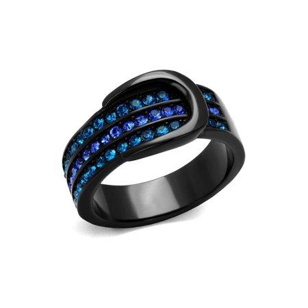 (6.5 mm Wide Band Belt Buckle Brilliant Designer Ring Stainless Steel)