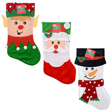 Set of 3 Pack: Christmas House Felt Character Santa, Snowman and Elf Stockings, 18 inch - Felt Santa