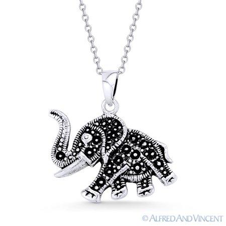Elephant Animal Charm Pendant in Oxidized .925 Sterling Silver Elephant Animal Charm Pendant
