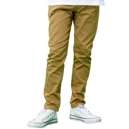 Leo&Lily  Boys' Regular Fine  Fit Elastic Waist Twill Casual Chino Pants