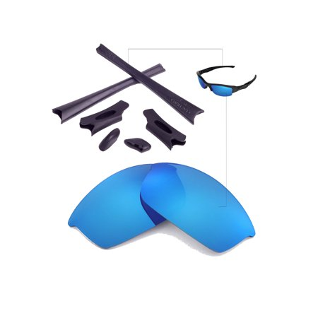 f9057c702ba Walleva - Walleva Ice Blue Replacement Lenses And Black Rubber Kit for  Oakley Flak Jacket Sunglasses - Walmart.com