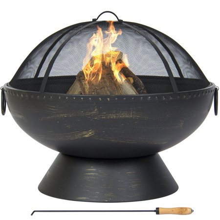 Best Choice Products 29.5in Outdoor Round Fire Pit Bowl for Porch, Patio, Deck w/ Spark Screen, Wood-Handle Poker, Carrying Handles - Black ()
