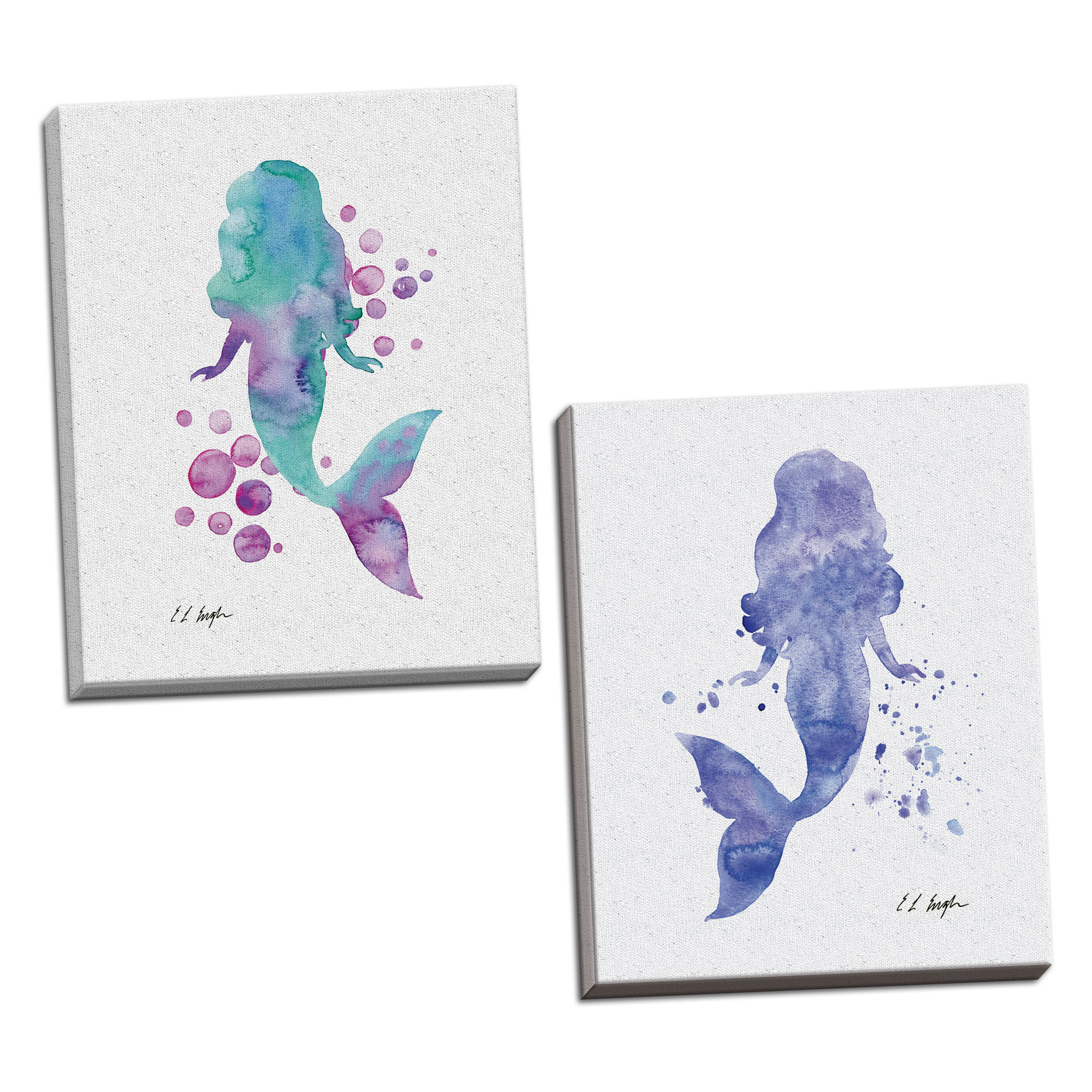 Gango Home Decor Vertical Purple Mermaid, & Blue and Purple Mermaid Bubbles by Elise Engh (Ready to Hang); Two 16x20in Hand-Stretched Canvases