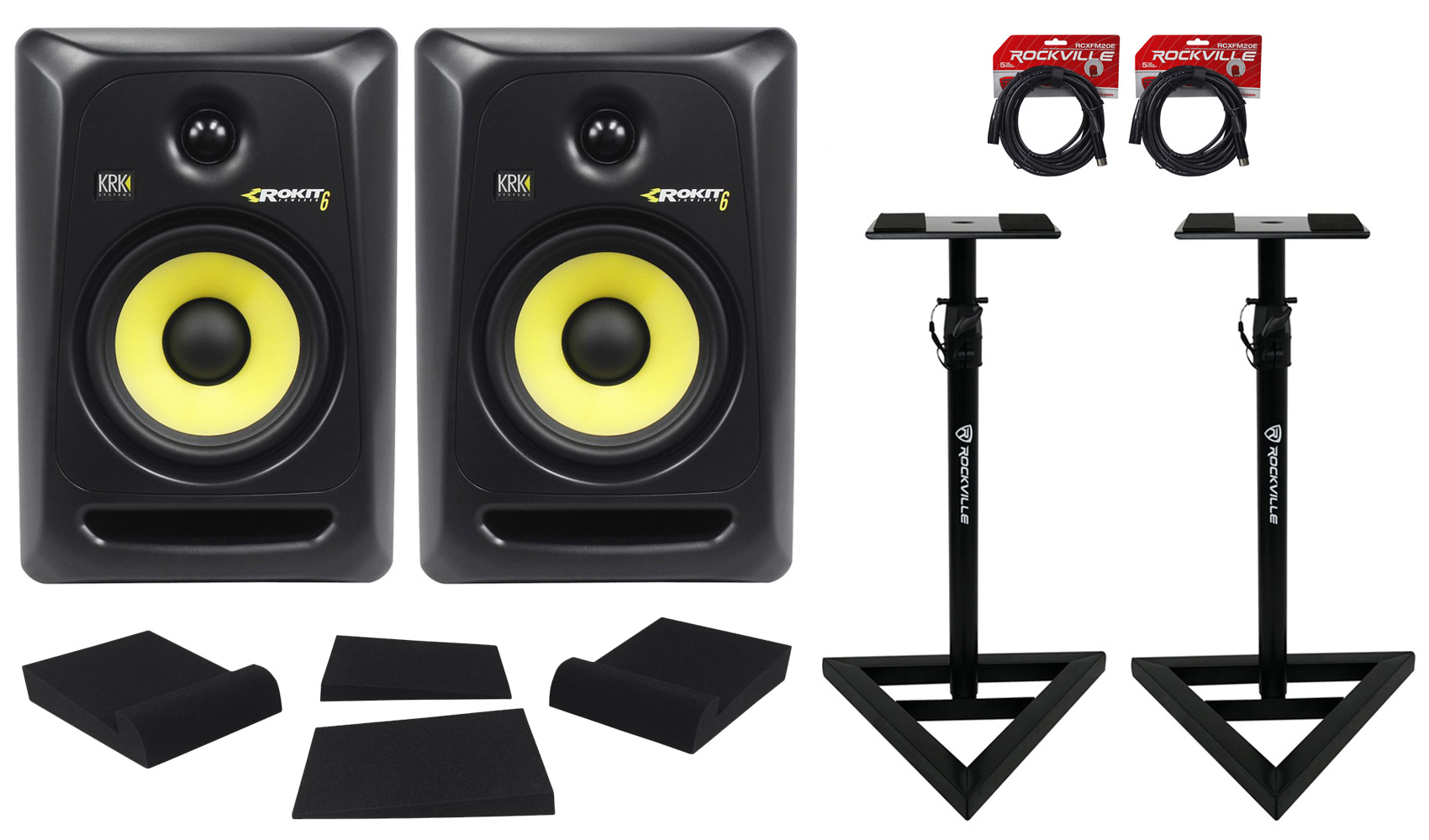 "(2) KRK RP6-G3 Rokit Powered 6"" Powered Studio Monitors+Stands+MOPAD+2 Cables by KRK"