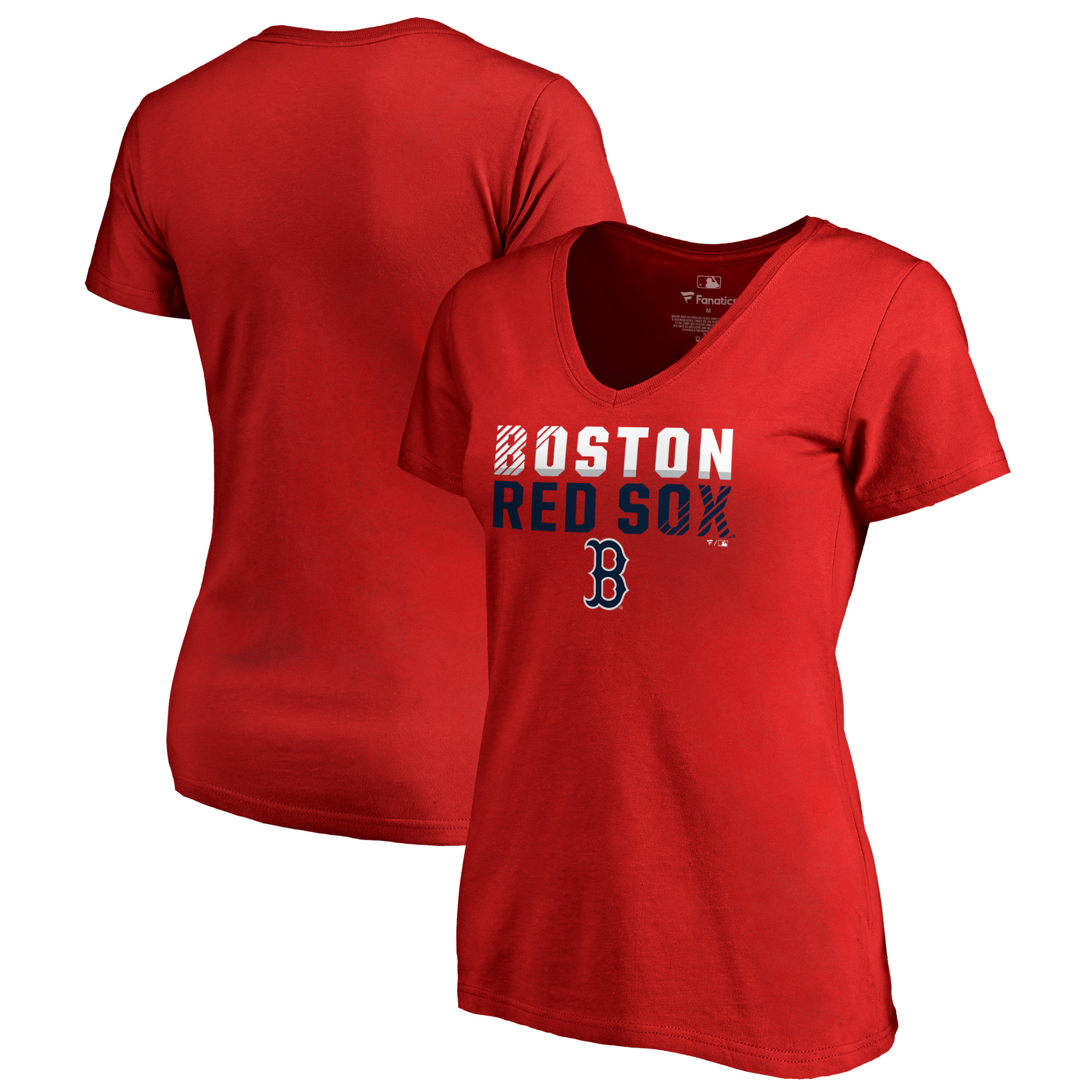 Boston Red Sox Fanatics Branded Women's Fade Out Plus Size V-Neck T-Shirt - Red
