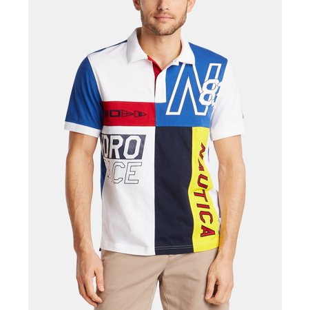 Mens Shirt Embroidered Colorblock Logo Polo Rugby 2XL