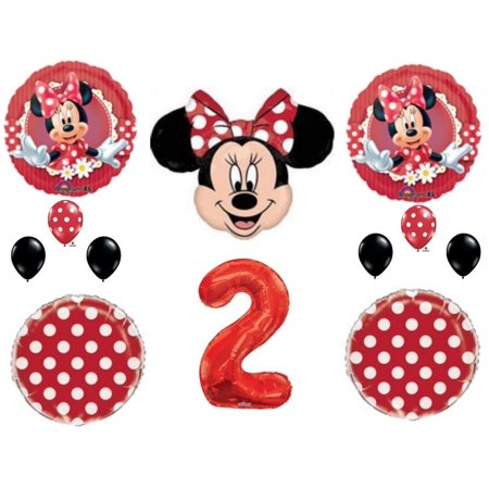 RED Minnie Mouse 2nd Birthday Party Balloons Decoration Supplies Second - Discount Minnie Mouse Party Supplies