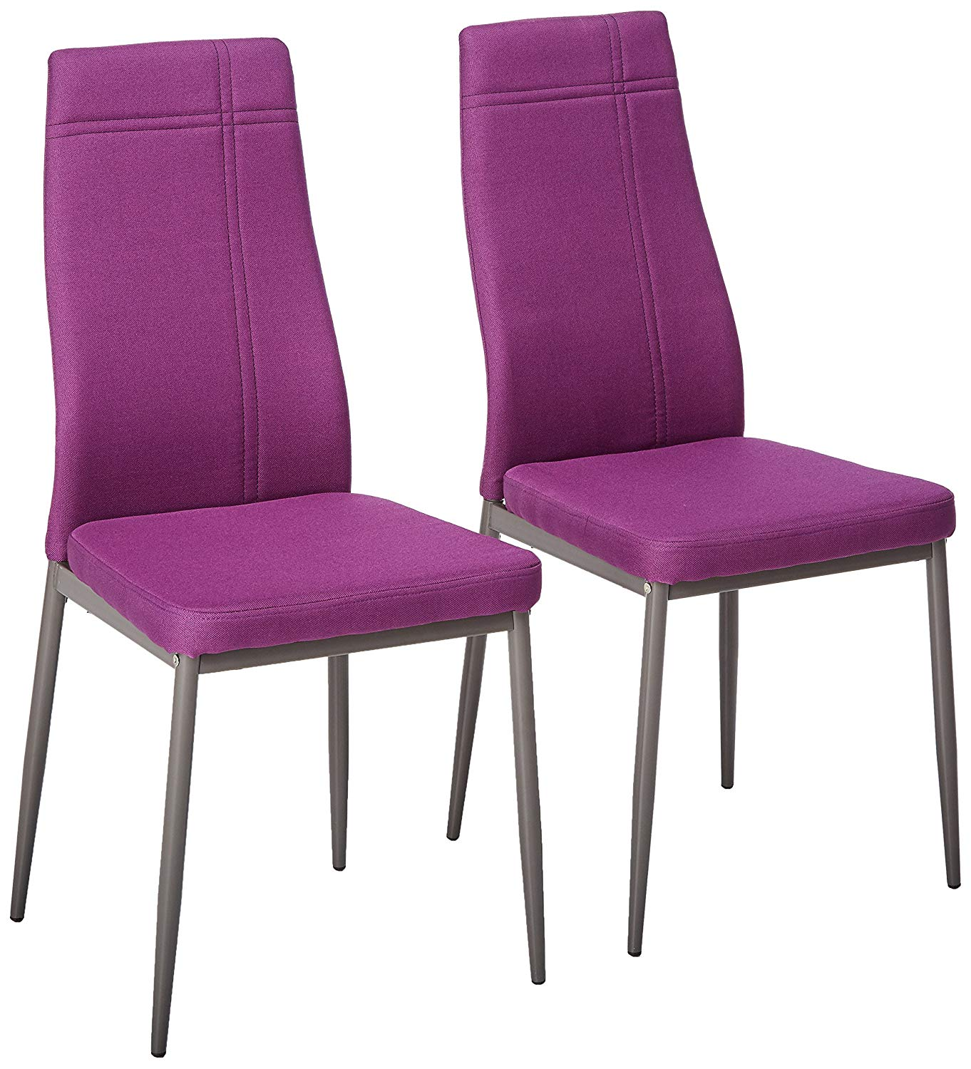 Bri Kitchen Dining Chairs, Purple Fabric & Metal Frame, Modern (Set Of Two)