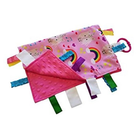 Unicorn Lovey with Rainbows and Music Notes Educational Sensory Blanket Lovey with Ribbon Tabs by Baby Jack 14x18](Baby Jack)