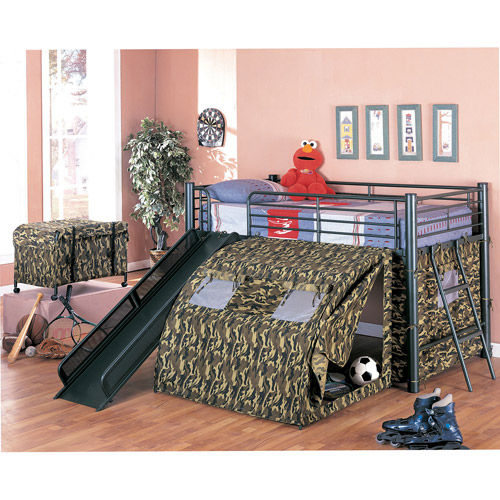 Coaster Army Loft Bed with Slide and Tent  sc 1 st  Walmart.com : loft bed canopy tent - memphite.com