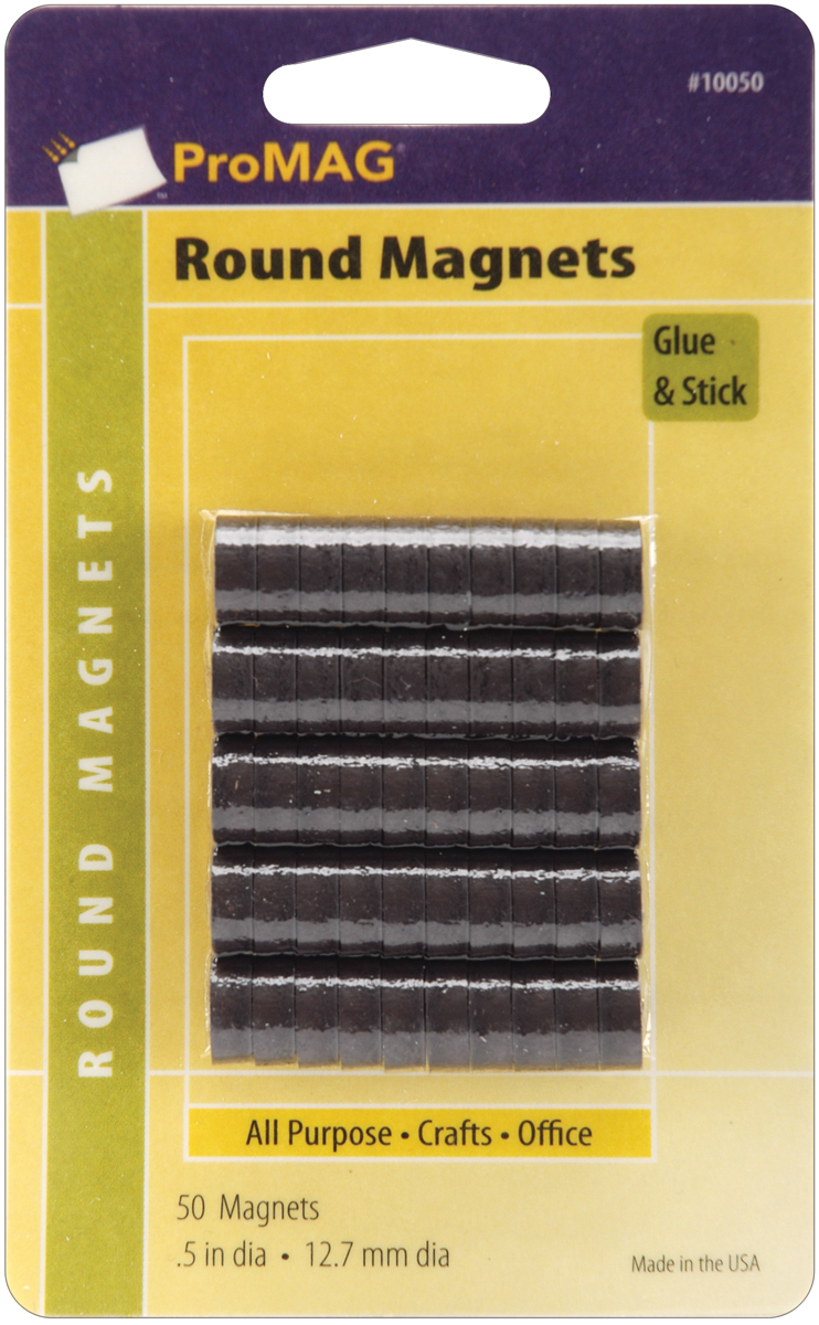 "ProMag Flexible Round Magnets-.5"" 50/Pkg"