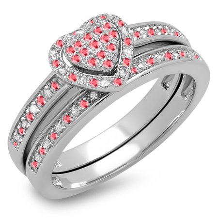 Sterling Silver Ruby & White Diamond Ladies Heart Shaped Bridal Ring Set - Heart Shaped Bridal Set