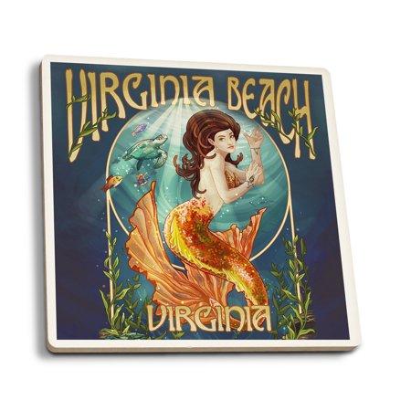 Virginia Beach, Virginia - Mermaid - Lantern Press Artwork (Set of 4 Ceramic Coasters - Cork-backed, Absorbent) - Halloween Store Virginia Beach