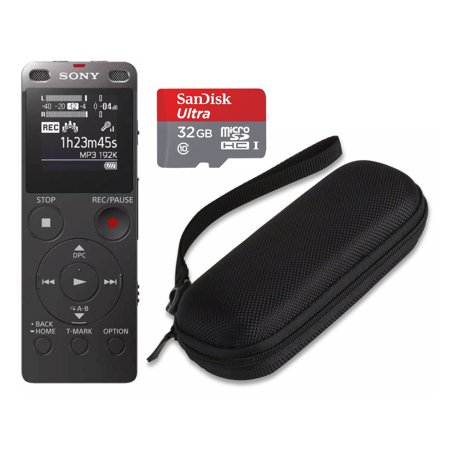 Sony ICD-UX560 Digital Voice Recorder with Built-in USB (Black) and Case Bundle (Sony Voice Recorder Usb)