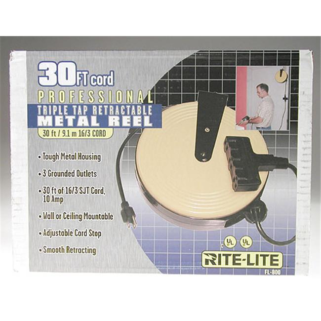 Bayco Products Triple-Tap Extension Cord Retractable Reel FL-800