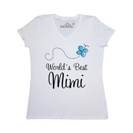 Worlds Best Mimi butterfly Women's V-Neck T-Shirt
