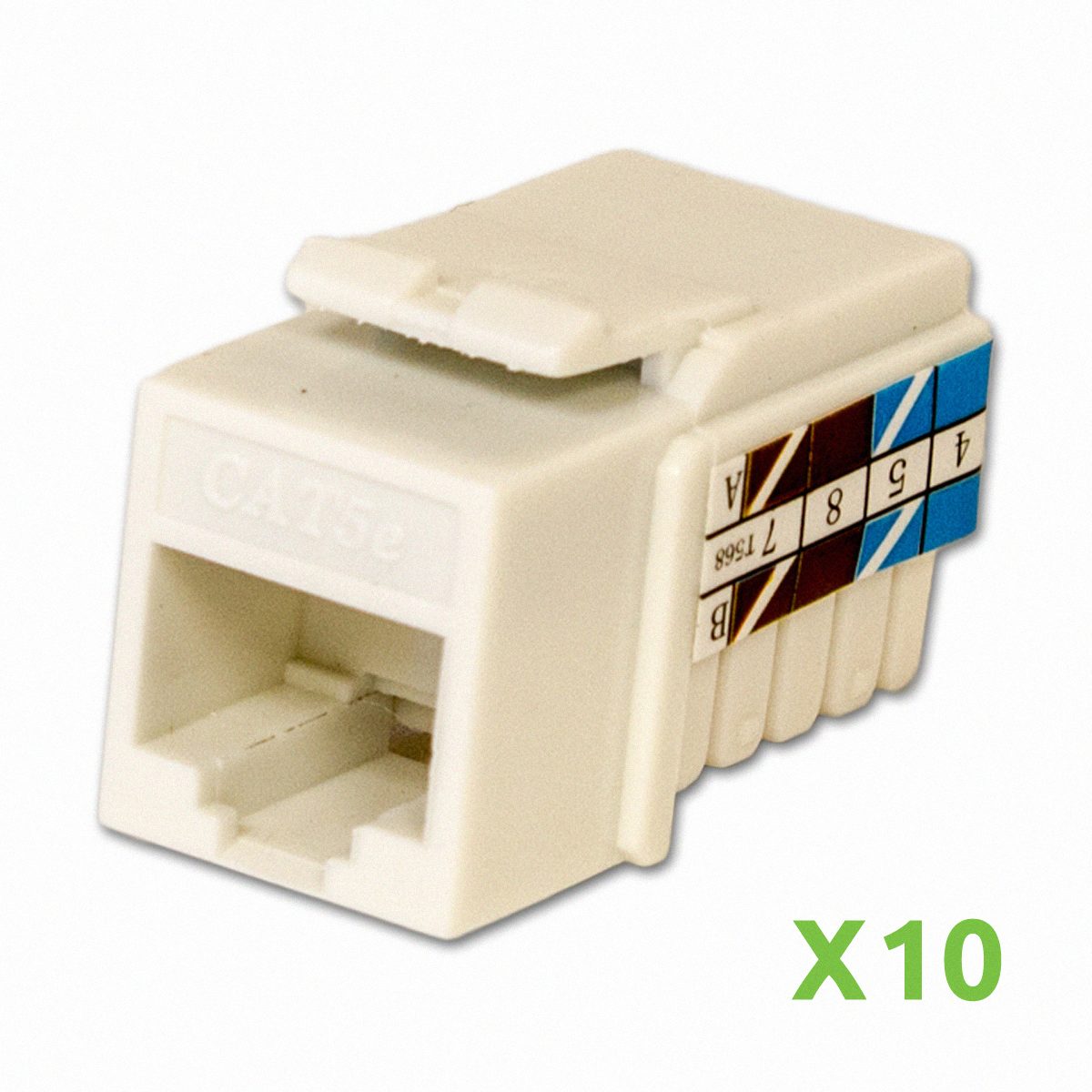 NavePoint CAT5e Ethernet Keystone Adapter Right Angle White 100-pack