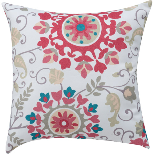 Mainstays Medallion Print Coral Decorative Decorative Pillow