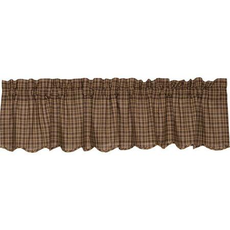 dark brown rustic & lodge kitchen curtains prescott rod pocket cotton plaid valance - walmart