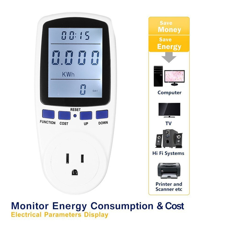 TMISHION Electricity Usage Monitor Power Meter Plug,Home Energy Watt Volt Amps KWH Consumption Analyzer with Digital LCD Display Overload Protection